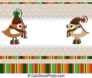 mooi, kerstmis kaart, vogels