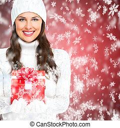 mooi, kerstmis, meisje, jonge, present.