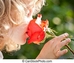 mooi, kind, met, bloem