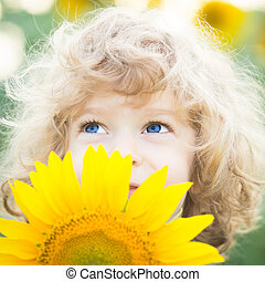 mooi, kind, met, zonnebloem