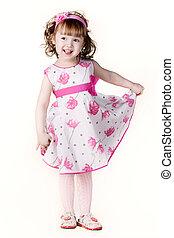 mooi, klein meisje, in, een, jurkje, met, een, bloem, in, jouw, hand