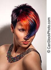 mooi, kleuren, gekleurd haren, haar, verticaal, professioneel, meisje