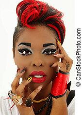 mooi, kleurrijke, zwarte vrouw, gezicht, manicure, ontwerper, spijkers