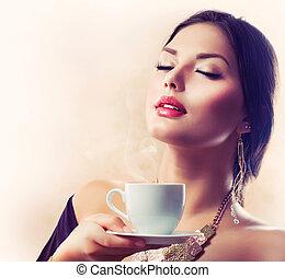 mooi, koffie, coffee., thee, drinkt, meisje, of