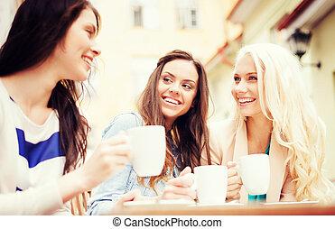 mooi, koffie, koffiehuis, meiden, drinkt