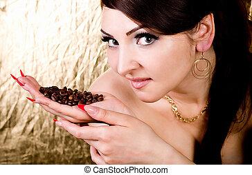 mooi, koffie, vrouw, jonge
