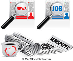 mooi, krant, vector, set, pictogram