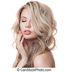 mooi, krullend, gezonde , lang, girl., hair., blonde