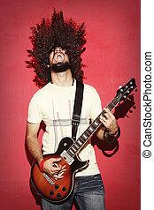 mooi, krullend, guitarist, langharige, innige, gegil, spelend