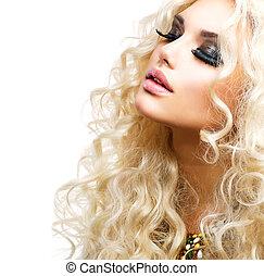mooi, krullend, vrijstaand, haar, blonde , meisje, witte
