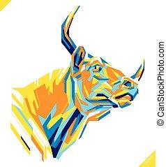 mooi, kunst, illustratie, bull., vector, knallen, verticaal