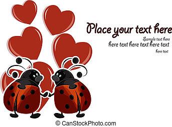 mooi, ladybugs, kaart