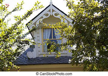 mooi, land, zoldertjes, venster huis
