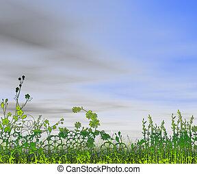 mooi, landscape, aanzicht