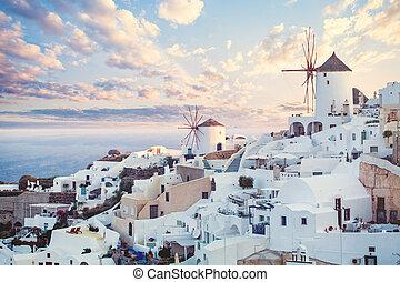 mooi, landscape, wolken, landmark., hemel, santorini, kusten, griekenland