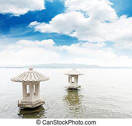 mooi, landschap, meer, west, hangzhou