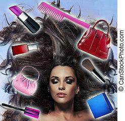 mooi, lange haired, brunette, met, veel, van, inspirations