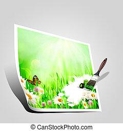 mooi, lente, achtergronden, met, chamomile, bloemen