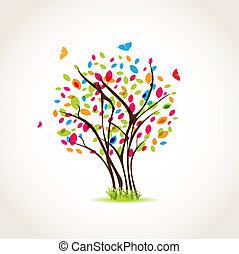 mooi, lente, illustratie, achtergrond