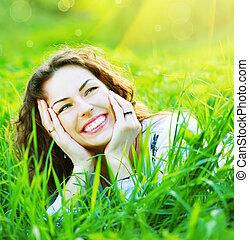 mooi, lente, jonge vrouw , buitenshuis, het genieten van, natuur