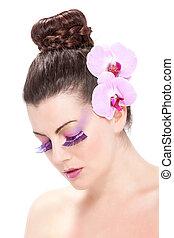 mooi, lente, makeup, met, orchidee, bloemen