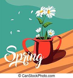 mooi, lente, pot, bloemen, kaart