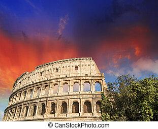 mooi, lente, rome, colosseum., kleuren, ondergaande zon , seizoen