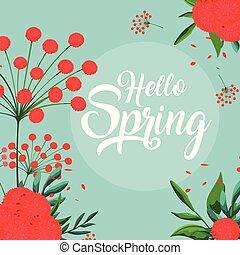 mooi, lente, versiering, bloemen, hallo, kaart