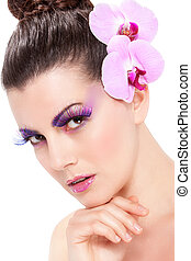 mooi, lentebloemen, makeup, orchidee