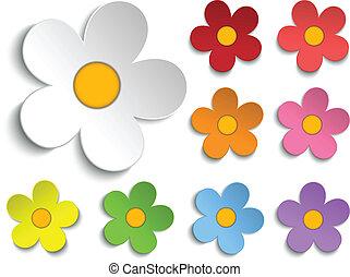 mooi, lentebloemen, verzameling, set, van, negen