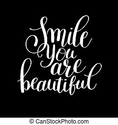 mooi, lettering, noteren, hand, glimlachen, positief, frase,...