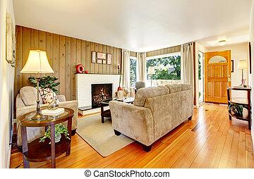 mooi, levend, cozy, room.