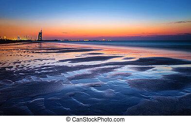 mooi, licht, strand, ondergaande zon