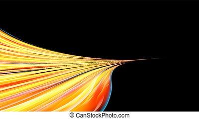 mooi, lijnen, abstract, gele, helder, draaien, textuur, achtergrond., black , vurig, sinaasappel, draaien, oneindigheid, energiek, space., kopie, golven, vlammen, draaien, kosmisch, magisch, vector, strepen