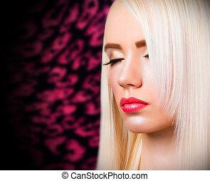 mooi, lippen, blonde, meisje, rood
