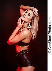mooi, look.glamor, mode, vrouw, jonge, hoog, lingerie, black , blonde , sexy, verticaal, modieus, model, kaukasisch