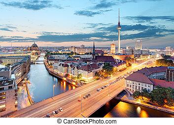 mooi, luchtopnames, berlin, berlin., gedurende, aanzicht, sunset.