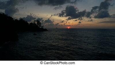 mooi, luchtopnames, zee, ondergaande zon , boven, aanzicht