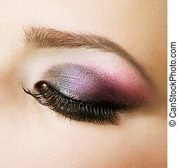 mooi, makeup, oog