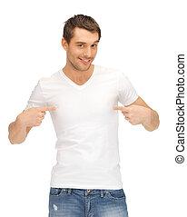 mooi, man, in, wit hemd
