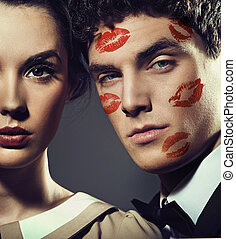 mooi, man, met, kiss-signs, op, de, gezicht