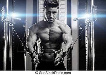 mooi, man, oplossen, in, gym