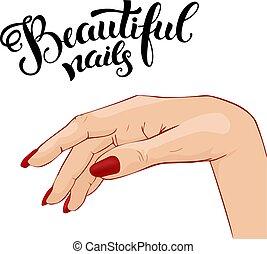 mooi, manicure, illustratie