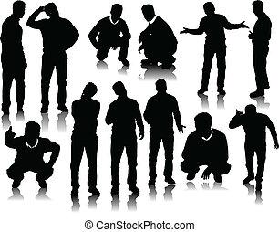 mooi, mannen, silhouettes