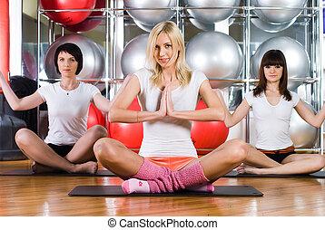mooi, meiden, in, fitness midden
