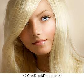 mooi, meisje, blonde