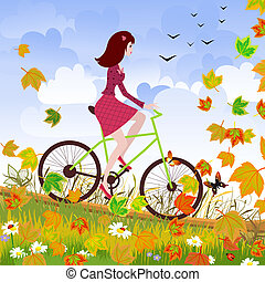 mooi, meisje, fiets