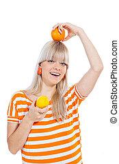 mooi, meisje, fruit, spelend