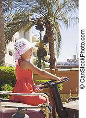 mooi, meisje, geleider, een, oud, auto, op, een, achtergrond, van, exotische , palmen