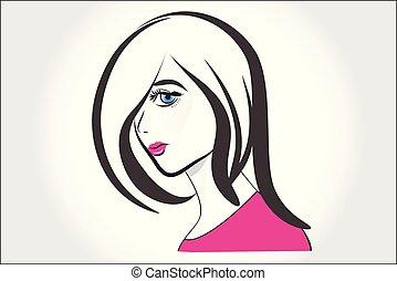 mooi, meisje, gezicht, logo